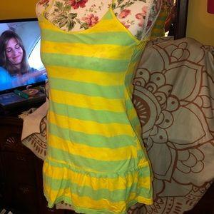 VS Pink Yellow/Green Striped Mini Dress